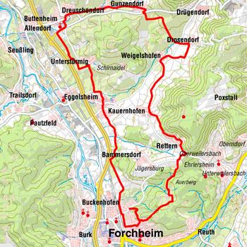 Kartografie: Radtour Hersbruck aus der Broschüre Fahradtouren Fränkische Schweiz: