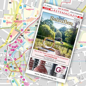 Kartografie, Stadtpläne und Landkarten: Stadtplan im Gästemagazin Bad Salzuflen