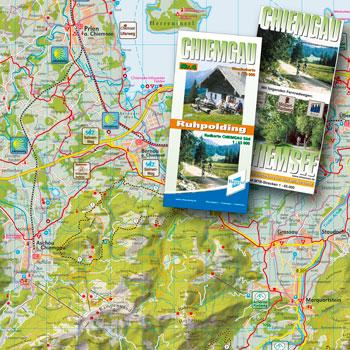 Kartografie, Rad- und Wanderkarten  Chiemgau mit plastischer Geländedarstellung