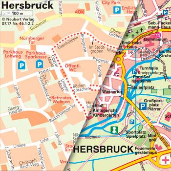 Kartografie, Stadtpläne und Landkarten: Altstadtplan und Stadtplan Hersbruck