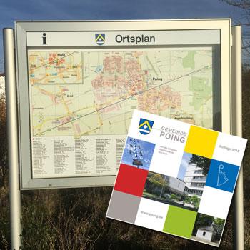 Kartografie, Stadtpläne und Landkarten: Ortsplan Poing im Schaukasten und in der Ortsbroschüre