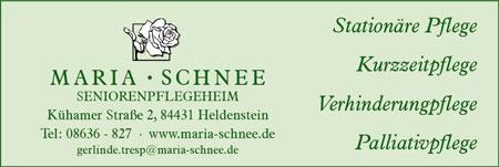 Anzeige Pflegeheim Maria Schnee