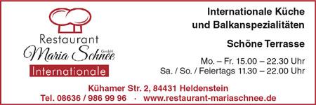 Anzeige Restaurant Maria Schnee