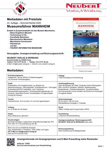 Preisliste Mediadaten Museumsführer Mannheim