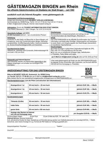 Preisliste Gästemagazin Bingen am Rhein 2020