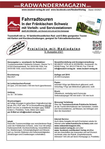 Preisliste-Mediadaten Radfahren Tagestouren Fränkische Schweiz