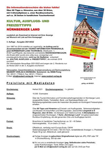 KULTUR, AUSFLUGS- UND FREIZEITTIPPS-Nürnberger Land - Preisliste Mediadaten 2021